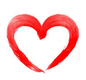 Love shape heart drawn with red paint on a white background — Stock Photo