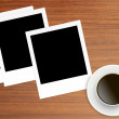 Polaroid Film Vintage empty photo cards and cup of coffee on woo — Stock Photo