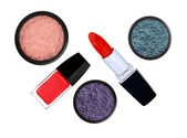 Collection of various make up accessories on white background — Stock Photo
