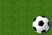 新鮮な春の緑の芝生の上のフットボール — ストック写真