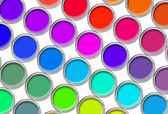 Paint cans color palette, cans opened top view isolated on white — Stock Photo