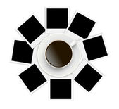 Photo papers and coffee cup on white background — Stok fotoğraf