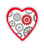 Coeur avec des engrenages à l'intérieur, sur fond blanc — Photo