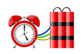 Time bomb with alarm clock detonator. Dynamite. Countdown. — Stock Photo
