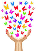 Paper colorfull butterflies fly from woman hands over white back — Stockfoto