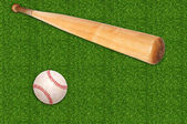 бейсбольный мяч и летучая мышь на фоне зеленой травы — Стоковое фото