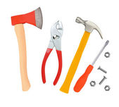 ハンマー、スクリュー ドライバー、斧、白で隔離されるレンチ — ストック写真
