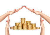 Many coins in columns and woman hands in house form isolated on  — Stock Photo