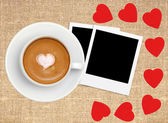 Border frame of red hearts on sack canvas burlap, coffee and pho — Stock Photo