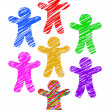 Paper people colored with markers isolated on white background — Stock Photo