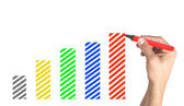 Hand drawing financial Graph with colorful markers on white — Stock Photo