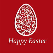 Elegant Easter egg on red background — Stock Photo