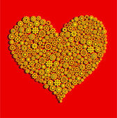 Heart made of golden gear wheels on red background — Stockfoto