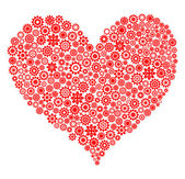 Red heart made of gear wheels over white background — Foto Stock