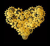 Golden heart made of gear on black background — Stock Photo