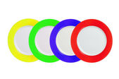 Set of Multi Colored Plates on white Background — Stock Photo
