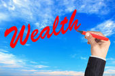 Hand writing word Wealth over blue sky background — Stock Photo