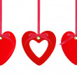 Three red hearts over white background — Stock Photo #47244293