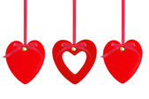 Three red hearts over white background — Stock Photo
