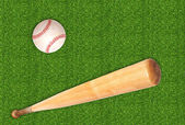 Baseball ball and bat on green grass background — Foto Stock
