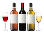 Bottles of red, pink and white wine isolated on white — Stock Photo