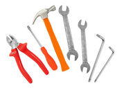 Hammer, screwdriver and wrenches isolated on white — Stockfoto