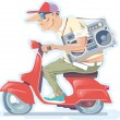 Постер, плакат: Man with the Boombox on a Scooter Version 2 0