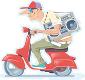 Man with the Boombox on a Scooter. Version 2.0 — Stock Vector