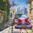 Stock Photo: Old Red Car at the Sunny Street