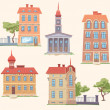 Classic Vector Buildings Set — Stock Vector