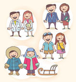 Doctor, Business People, Businesswoman, Tourists, People Wearing the Winter Cloth — Stock Vector