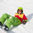 Lady snowboarder — Stock Photo