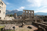 Aosta (Italy) - Ruins of the Roman Theatre — Stock Photo