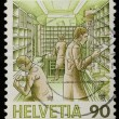 Stamp collecting - Swiss - Stock Photo