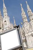 Blank billboard in Dome - Milan Italy — Stock Photo