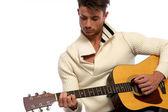 левша гитарист — Стоковое фото