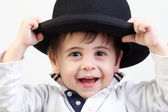 Little boy with bowler hat — Stock Photo