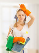 Young housewife is tired of housework — Stock Photo