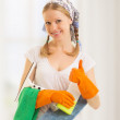 Happy housewife shows a thumb up — Stock Photo #13654926