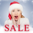 Christmas Sale and happy young woman - Stock Photo