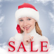 Christmas Sale and happy young woman — Stockfoto