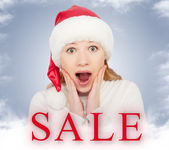 Christmas Sale and happy young woman — Stock Photo