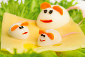 Design of food for children. eggs in the shape of mouse — Stock Photo