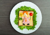 Design food. Creative sandwich for child with picture little ma — Stock Photo