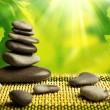 Green eco background with spa stones and leaves — Stock Photo