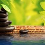 grüne Öko-Hintergrund mit Spa Steine und Blätter mit Wasser — Stockfoto