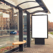 Billboard, banner, empty, white at bus stop — Stock Photo
