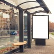 Billboard, banner, empty, white at bus stop - Stock Photo