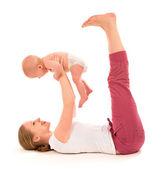 Ginnastica mamma e bambino, esercizi di yoga — Foto Stock