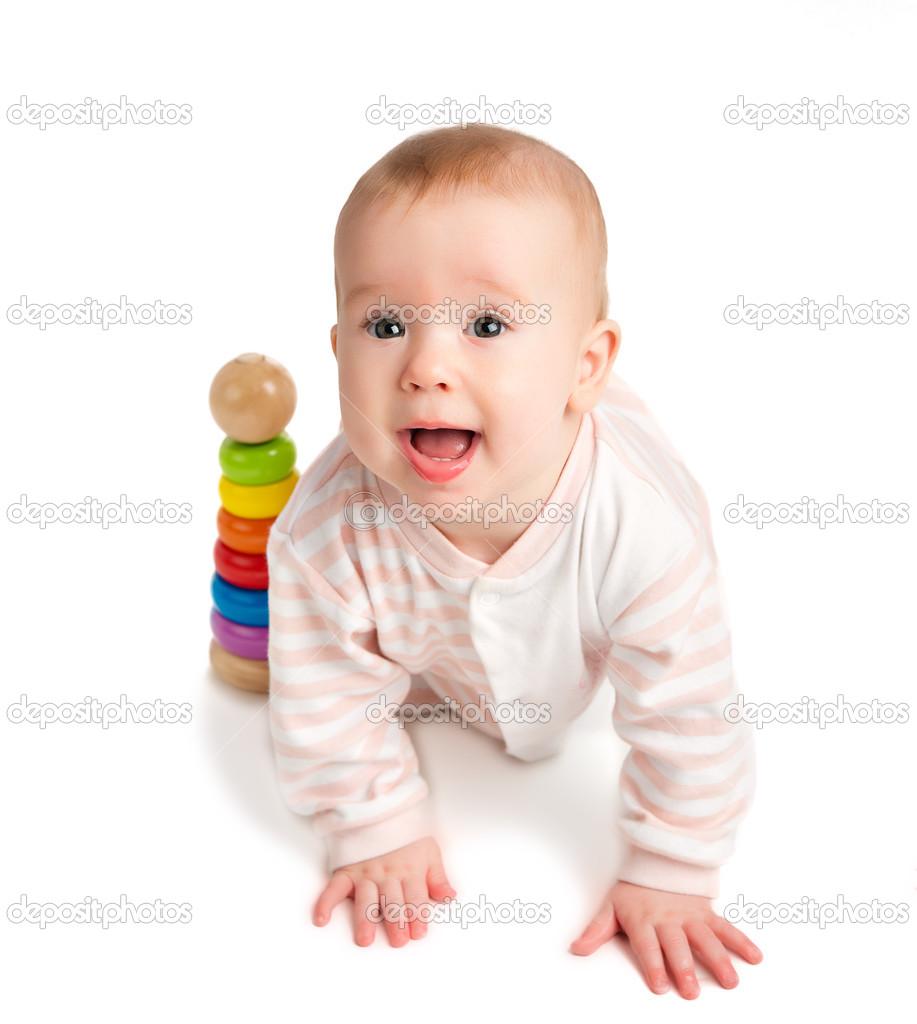乐宝宝玩玩具金字塔隔离 - 图库图片